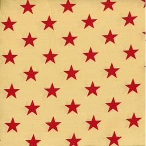 Patriotic Red Stars on Antique Beige Cotton Fabric
