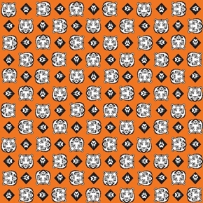 Cub Scouts Tigers Tiger Heads Scouting Scout Orange Cotton Fabric