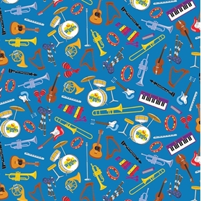 The Wiggles Ready Steady Wiggle Musical Instruments Blue Cotton Fabric