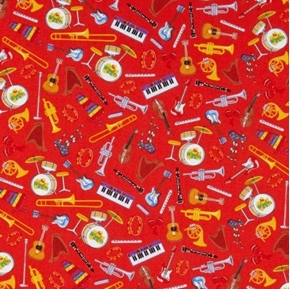 The Wiggles Ready Steady Wiggle Musical Instruments Red Cotton Fabric
