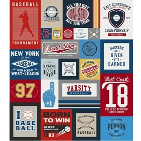 Varsity Baseball Championship 64x56 Quilt Top Cotton Fabric Panel