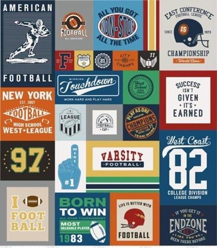 Varsity Football Championship 64x56 Quilt Top Cotton Fabric Panel