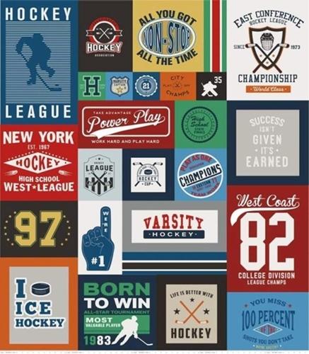 Varsity Ice Hockey Championship 64x56 Quilt Top Cotton Fabric Panel