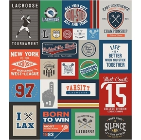 Varsity Lacrosse Championship 64x56 Quilt Top Cotton Fabric Panel