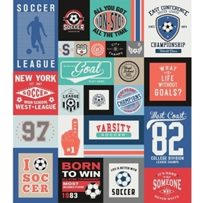 Varsity Soccer Championship 64x56 Quilt Top Cotton Fabric Panel
