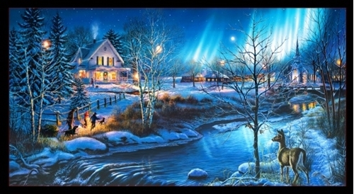 All Is Bright Winter Holiday Northern Lights Church 24x44 Cotton Panel