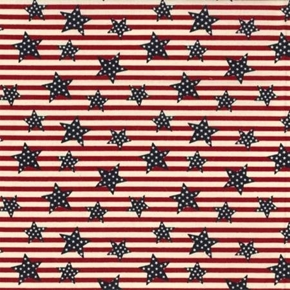 Heart Of America Blue Stars on Red and White Stripes Cotton Fabric