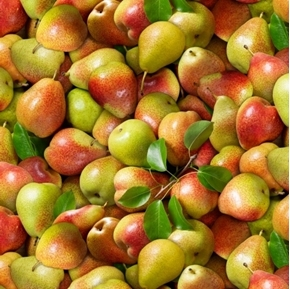 Food Festival Pears Delicious Red and Green Pear Fruit Cotton Fabric