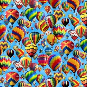 Up In The Air Hot Air Balloons Balloon Festival Colorful Cotton Fabric