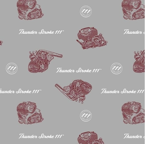 Indian Motorcycle Engines Thunder Stroke 111 Gray Cotton Fabric