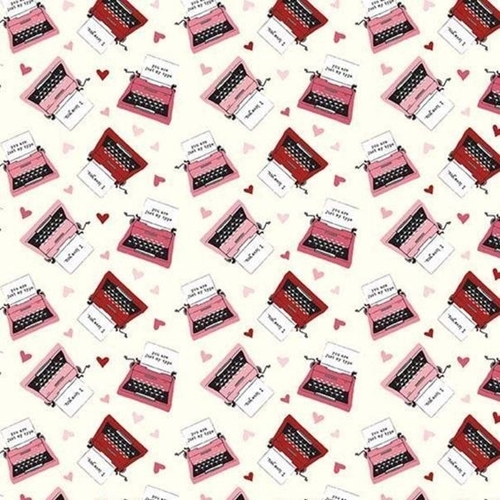 Hello Sweetheart Typewriters Hearts I Love You Messages Cotton Fabric