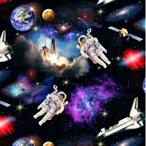 In Space Astronauts Space Shuttles Planets Cotton Fabric