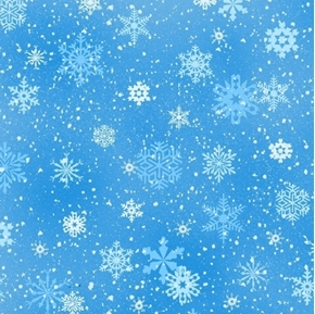 Landscape Medley Snowflakes Winter Snow on Blue Cotton Fabric