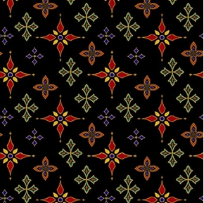 Silent Night Foulard Stars Red and Green Gold Metallic Cotton Fabric