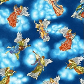 Silent Night Tossed Angels in Clouds Musical Metallic Cotton Fabric
