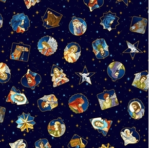 Silent Night Tossed Ornaments Jesus Mary Gold Metallic Cotton Fabric
