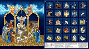 Silent Night Nativity Advent Calendar Cotton Fabric Craft Panel
