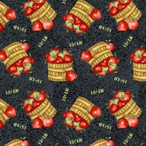 Farm Raised Baskets of Apples Fall Harvest Apple Cotton Fabric