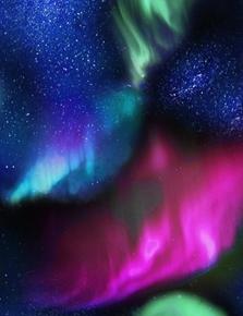 Northern Lights Aurora Sky Stars Red Green Purple Sky Cotton Fabric