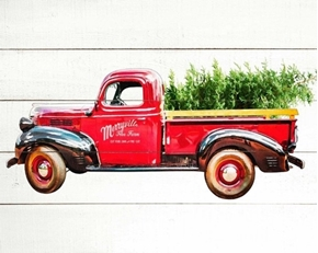 Loads of Cheer Red Truck Tree Farm Holiday Cotton Fabric Panel
