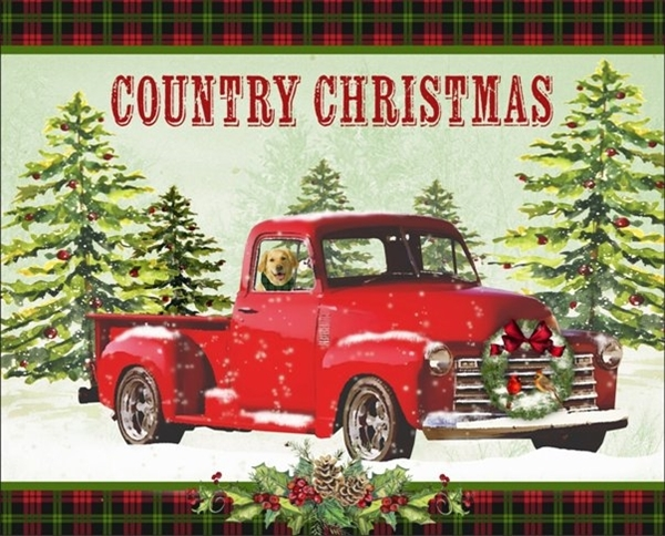 Cotton Fabric - Digital Fabric Panel - Country Christmas Red Truck Labrador  - 4my3boyz Fabric