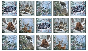 Winter Companions Forest Animals in Snow 24x44 Cotton Fabric Panel
