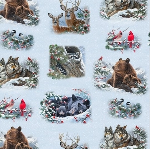 Winter Companions Forest Animals in Snow Blue Vignettes Cotton Fabric