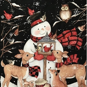 Picture of Snowman and Deer Panel Susan Winget Holiday Cotton Fabric Panel
