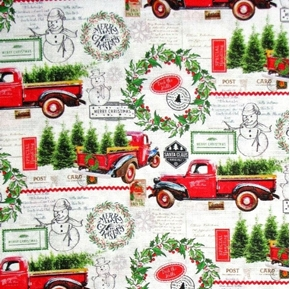 Deck the Halls Christmas Red Trucks Tree Farm Greetings Cotton Fabric