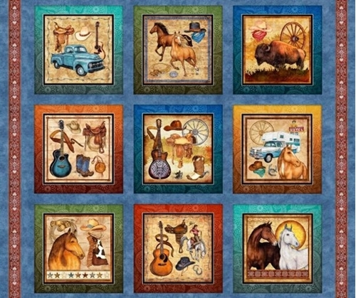Lil' Bit Country Boots Guitars Horses Western Blue Cotton Fabric Panel