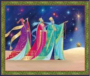 Christ is Born The Three Kings Christmas Large Cotton Fabric Panel