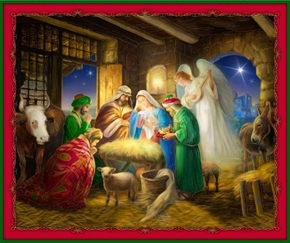 Born Is The King Nativity Birth of Jesus Large Cotton Fabric Panel