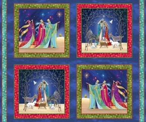 Christ is Born Nativity Picture Patches Cotton Fabric Pillow Panel Set