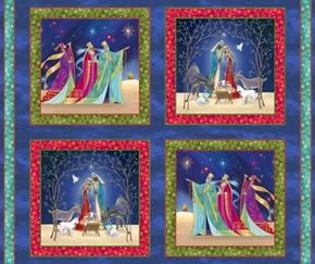 Christ is Born Nativity Picture Patches Cotton Fabric Pillow Panel Set