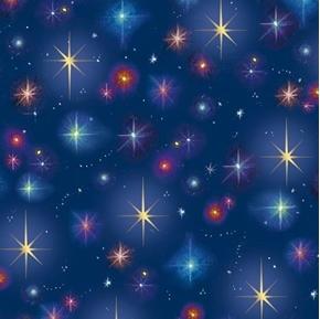Christ is Born Stars Christmas Nativity Star Navy Blue Cotton Fabric