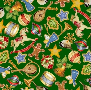 O Tannenbaum Christmas Tree Ornaments Holiday Green Cotton Fabric