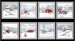 Back Home for the Holidays Christmas Winter Scenic 24x44 Fabric Panel