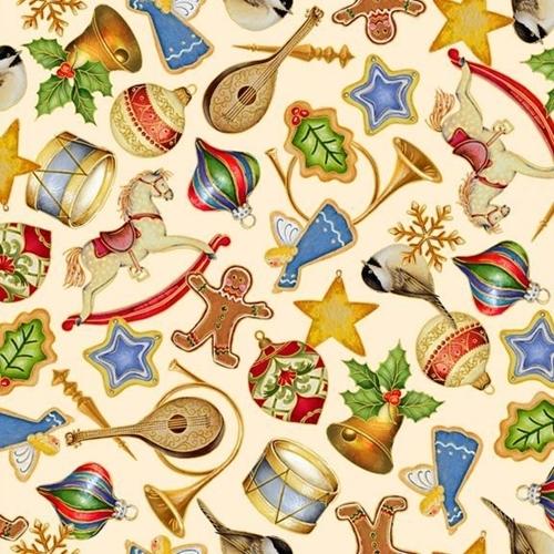 O Tannenbaum Christmas Tree Ornaments Holiday Cream Cotton Fabric