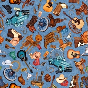 Lil' Bit Country Toss Boots Guitars Horses Western Blue Cotton Fabric