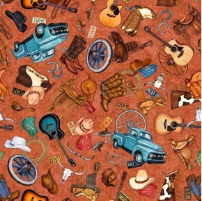 Lil' Bit Country Toss Boots Guitars Horses Western Rust Cotton Fabric