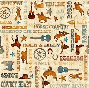 Lil' Bit Country Phrases Honky Tonk Cowboy Rodeo Beige Cotton Fabric