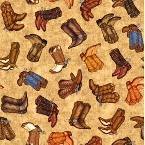 Lil' Bit Country Cowboy Boots Pairs of Boots Spurs Tan Cotton Fabric