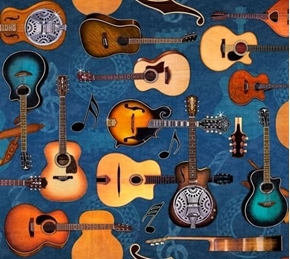 Lil' Bit Country Guitars Acoustic Guitar Blue Music Cotton Fabric