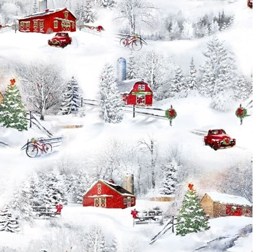 Back Home for the Holidays Christmas Winter Farm Scenic Cotton Fabric