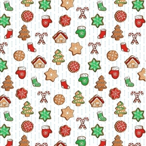 Sweater Weather Christmas Cookies Candy Canes White Cotton Fabric