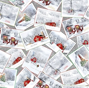 Back Home for the Holidays Christmas Winter Postcards Cotton Fabric