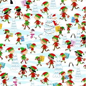 Santa's Workshop Elf Scenic Christmas Elves North Pole Cotton Fabric