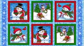 Frosty Friends Snowmen Picture Patch 24x44 Cotton Snowman Fabric Panel