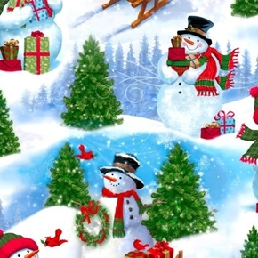 Frosty Friends Snowman Scenic Holiday Gifts Winter Cotton Fabric
