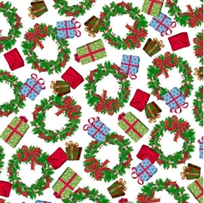 Frosty Friends Wreathes and Presents Christmas Holiday Cotton Fabric